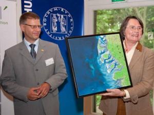 Ein Satellitenbild der nordfrisischen Inseln als Dankeschön