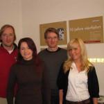 Die Brüder Sven und Niels Borghs mit zwei ihrer Mitarbeiterinnen - und einem großen Herz für Gründer...