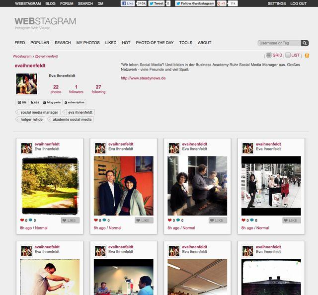 Web-Profil mit Instagram? So sieht es aus!  web.stagram.com/n/evaihnenfeldt