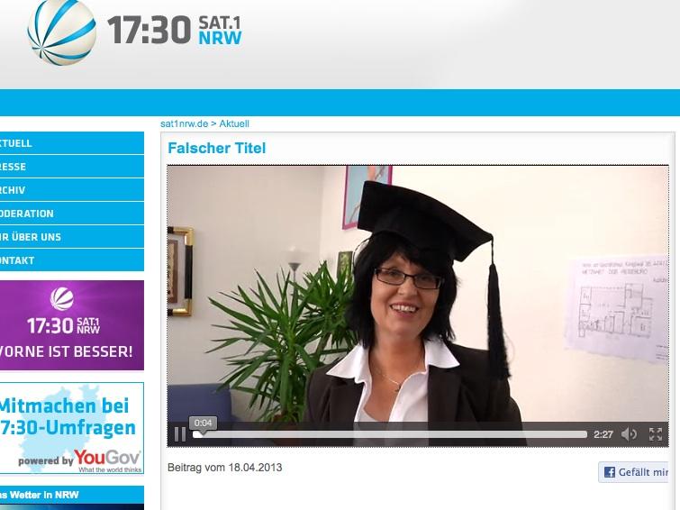 Donnerstag um 17.30 Uhr bei SAT 1 NRW - ein amüsanter Fernsehbeitrag - schön gemacht!