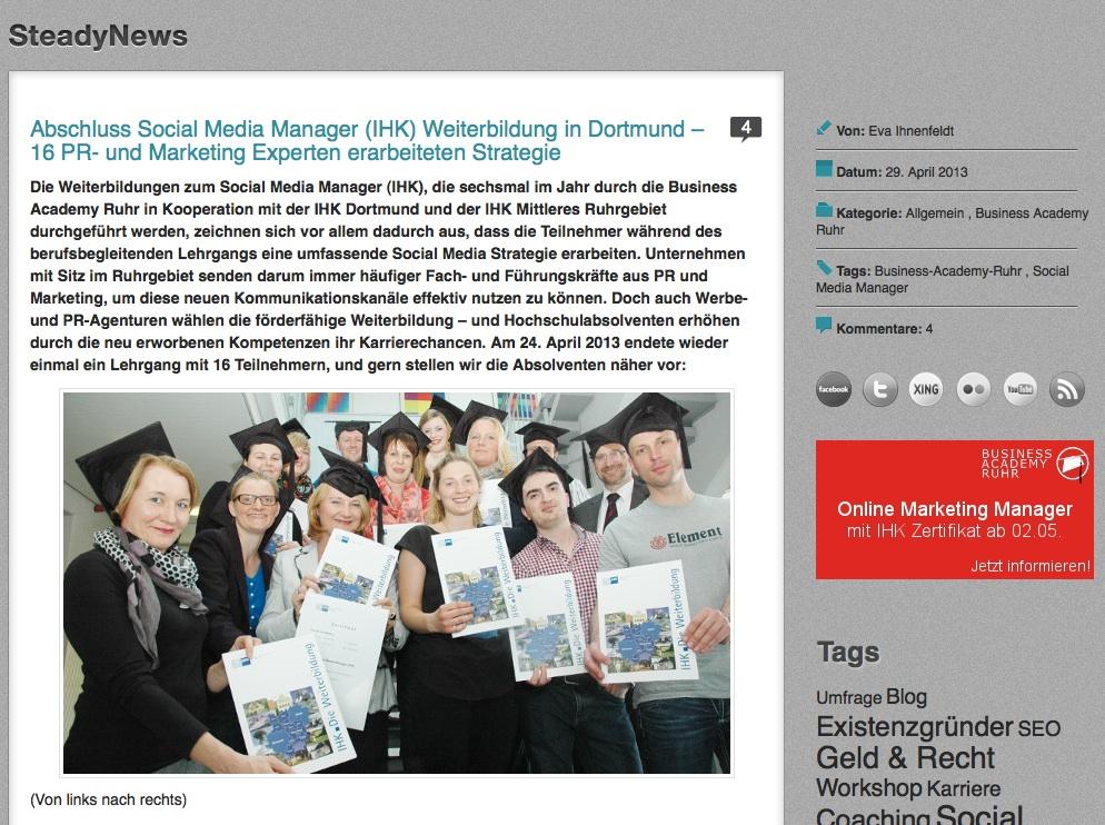 Infoabend am 18.06.2013 für die Social Media Manager (IHK) Weiterbildung in Dortmund in Vollzeit im Juli 2013