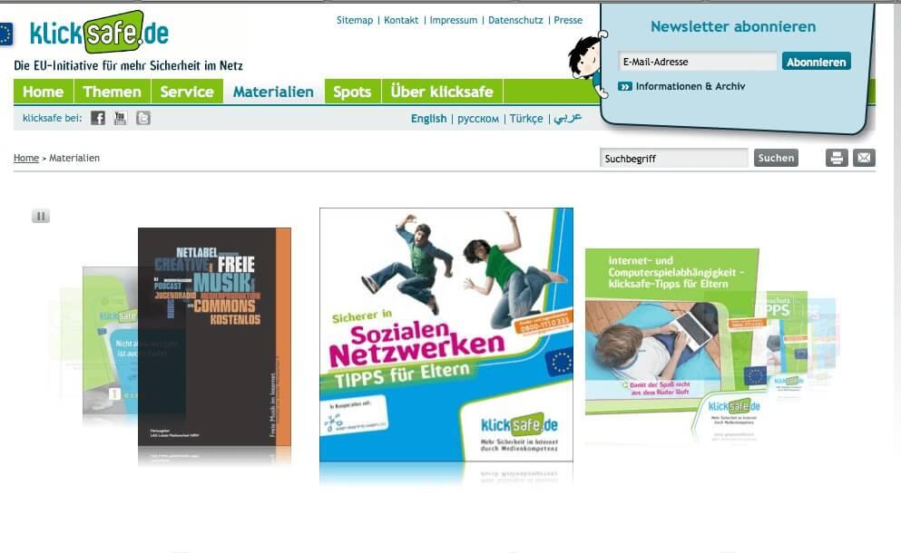 Bei Klicksafe.de können Eltern und Lehrer viele kostenlose Materialien erhalten - einfach auf das Bild klicken