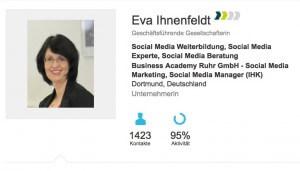 Das Xing Profil von Eva Ihnenfeldt. Einfach auf das Bild klicken und Sie sind direkt dort.