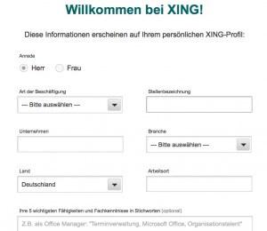Die ersten Angaben für Ihr Xing Profil - erscheinen direkt neben Ihrem Profil