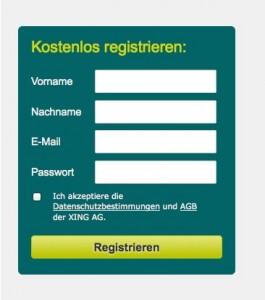 Schritt Eins: bei Xing registrieren