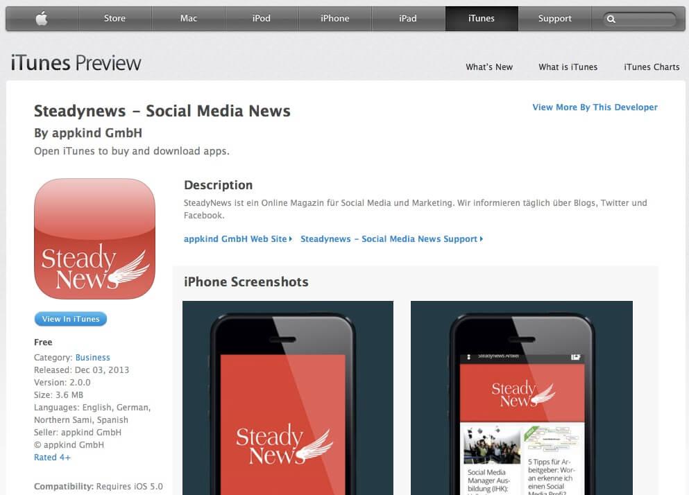 Die SteadyNews gibt es jetzt kostenlos als App! Für iPhone und Android – danke appkind!