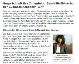 Interview Eva Ihnenfeldt Social Media Karriere