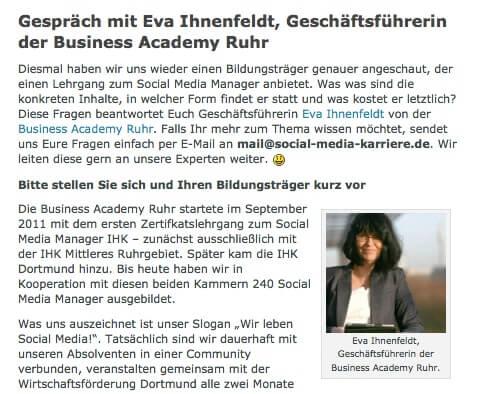 """Interview mit Eva Ihnenfeldt in """"Social Media Karriere"""" – was macht eigentlich unsere Akademie?"""