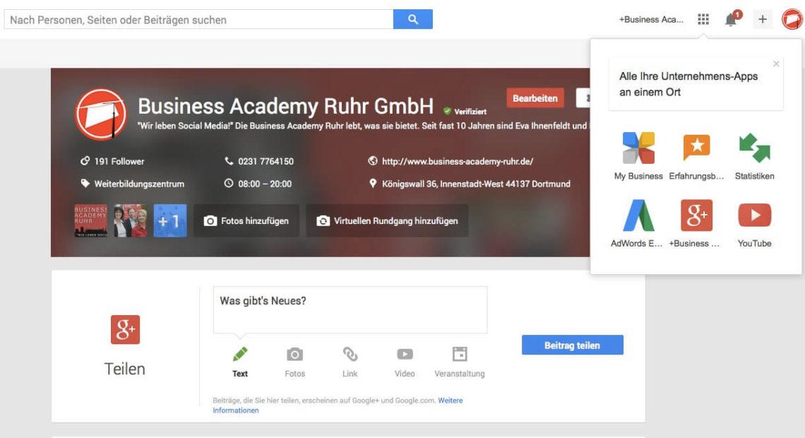 """Google Maps, Googleplus, Google """"My Business"""" – Google für Unternehmen"""