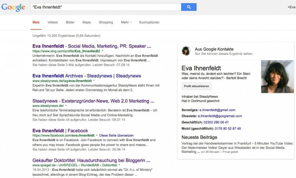 """Das Ergebnis, wenn ich """"Eva Ihnenfeldt"""" in Anführungszeichen bei Google eingebe"""