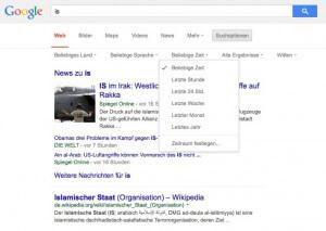 Suchoptionen bei Google: Die zeitliche Eingrenzung