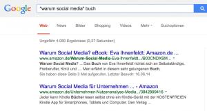 Beispiel für einen Google-Sinppet: Social Media Buch von Eva Ihnenfeldt