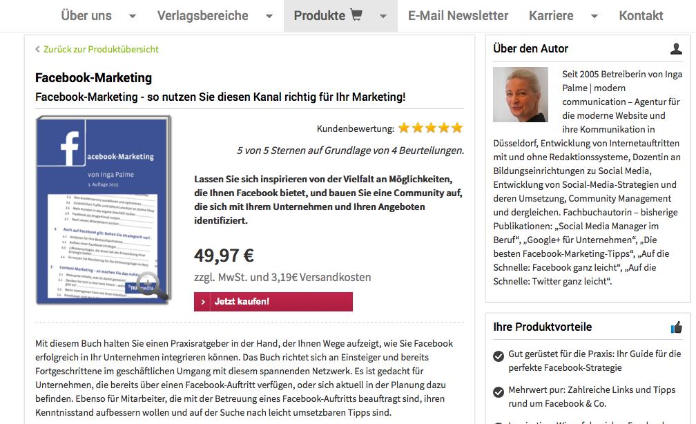 Buch: Facebook Marketing in Unternehmen – praktischer Leitfaden von Inga Palme