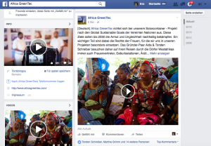 Die Facebook Fanpage von AfricaGreen Tec