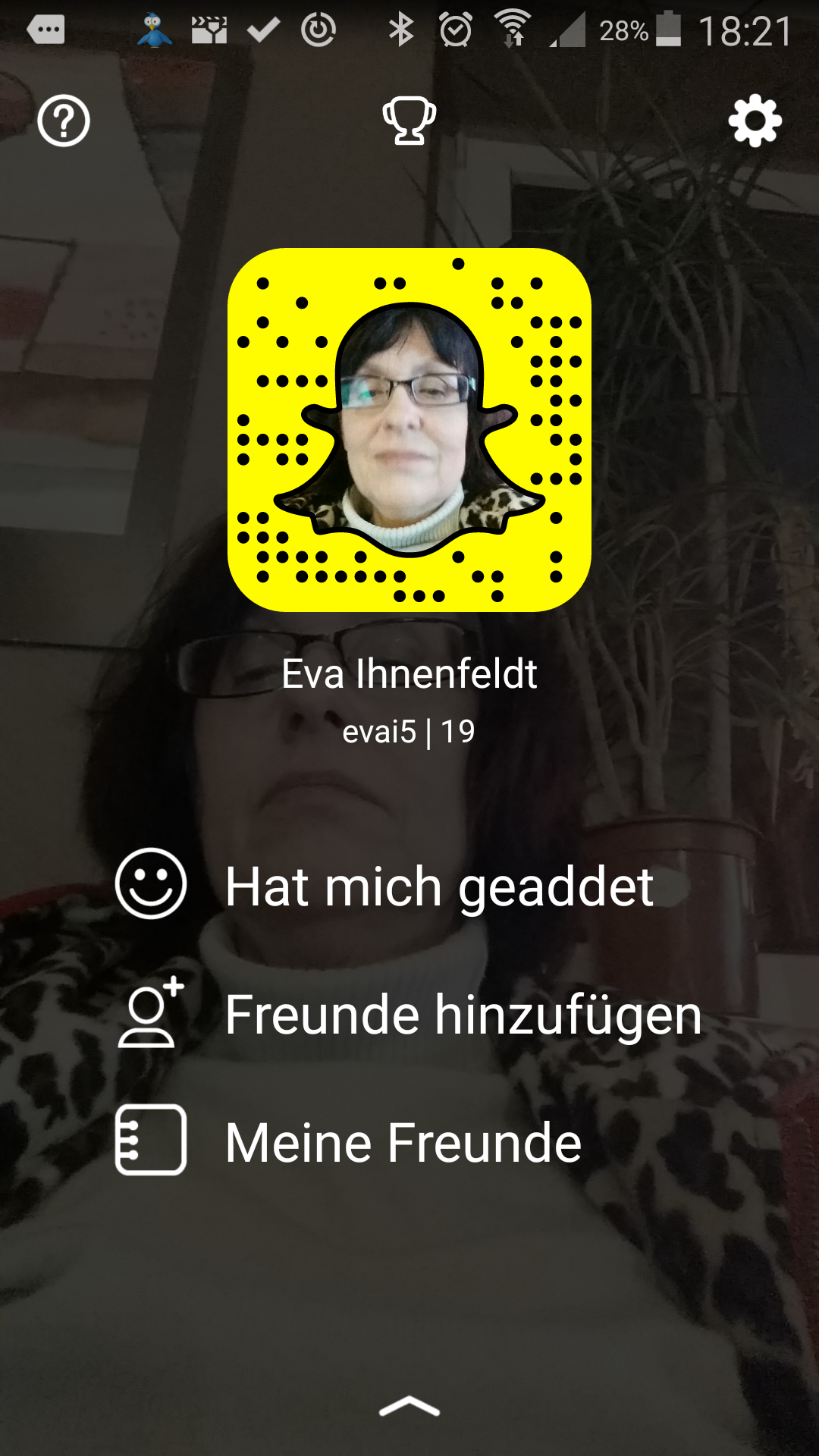 Eva Ihnenfeldt bei Snapchat - aber nicht aktiv