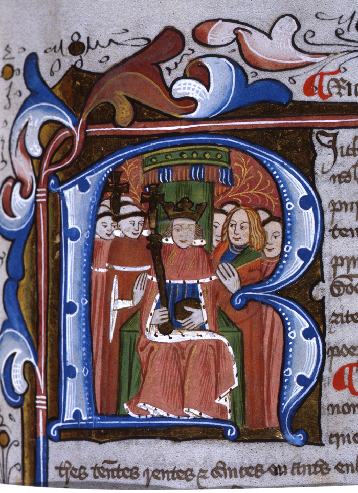 Illuminated initial from a 15th century book of statutes showing the King (Edward IV?) in Parliament seated under a canopy with the Lords Spiritual (left) and the Lords Temporal (right).