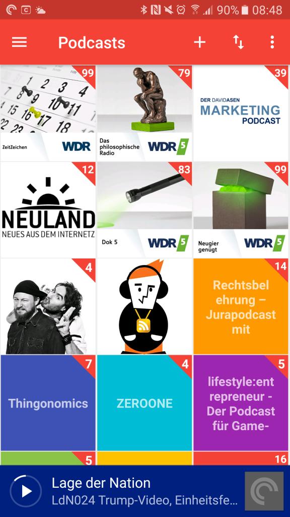 """Zurzeit habe ich über die App """"Pocket Casts"""" etwa 70 Podcasts abonniert"""