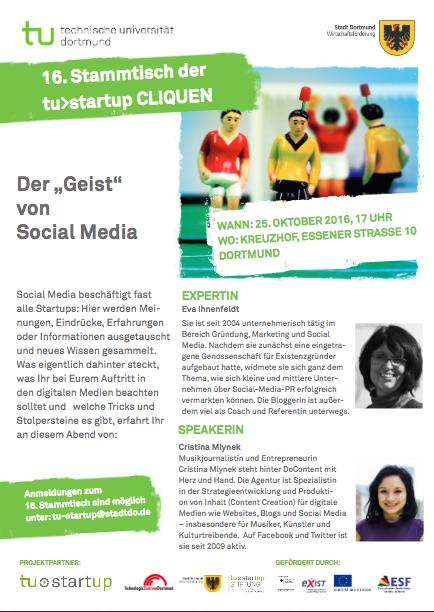 Gründer und StartUps sind eingeladen am 25.10. zum Stammtisch der tu>StartUp in Dortmund