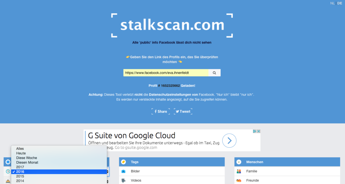 Data Sefie und Stalkscan: Zwei Tools, um unsere Facebook Überwachung zu checken