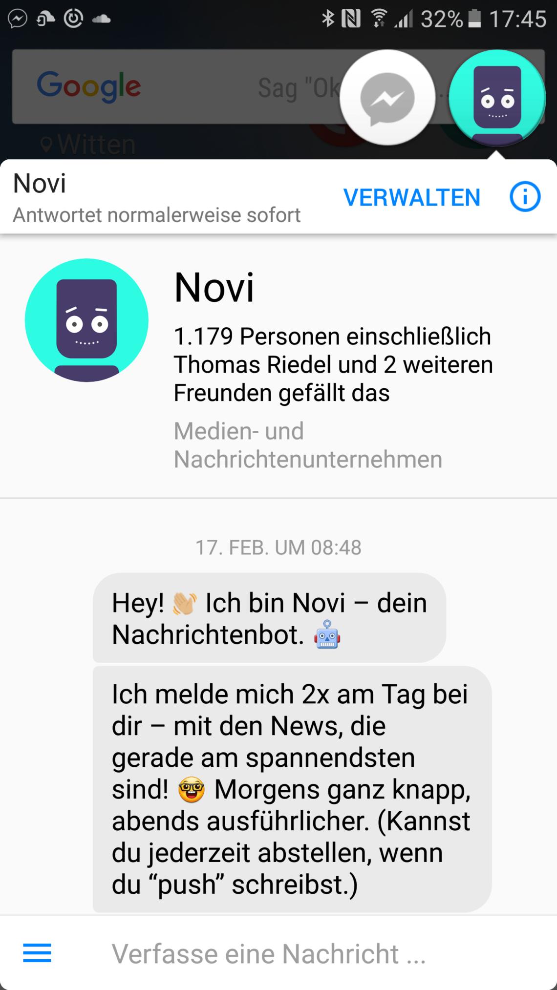 Chatbots mal ausprobieren? Ich empfehle Novi, den News-Bot von ARD und ZDF