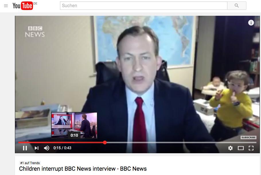 60 Mio. Aufrufe für 43 Sekunden BBC Live-Interview – ja wieso denn bloß?