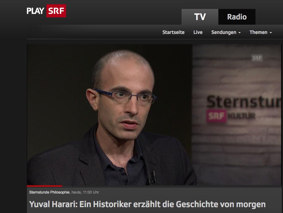 """Yuval Harari bei """"Sternstunde Philosophie (Video): Ersetzen Algorithmen bald den menschlichen Willen??"""