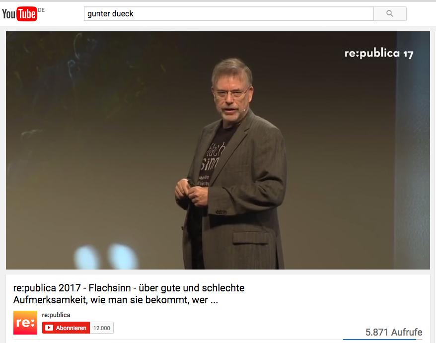 """#rp17: Gedanken zum """"Flachsinn"""" Vortrag von Gunter Dueck – Video eingebettet"""
