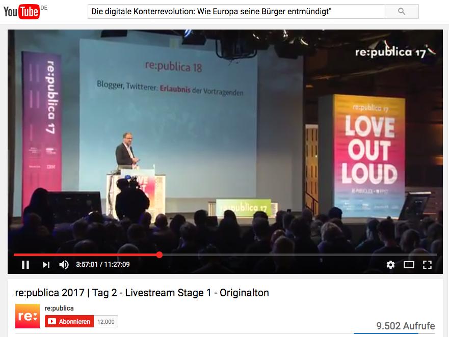 Christoph Kucklick auf der re:publica: Die Neue EU-Datenschutzverordnung – Ende der Meinungsfreiheit?