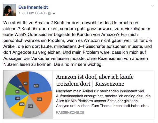 Facebook-Post der Woche: Wie steht Ihr zu Amazon? Kauft Ihr dort ein? Oder nicht?