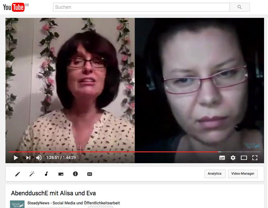 Abenddusche: Alisa und Eva kreieren einen Video-Podcast zu Medien und Metaphysik