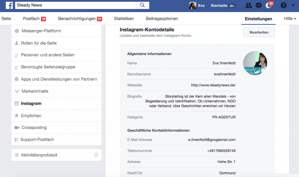 Business-Account von Instagram erstellen über die Facebook Fanpage