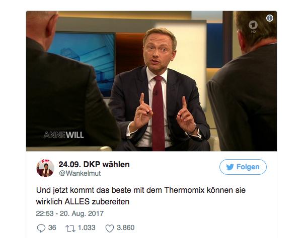 Wie aus einem Tweet ein Meme wurde: Christian Lindner als Thermomix-Vertreter mit #ThermiLindner