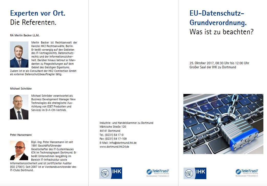 25. Oktober 2017: Die IHK Dortmund informiert zur EU-Datenschutz-Grundverordnung