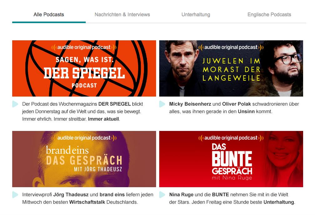 An alle Audible Abonnenten: Nun gibt es 22 Podcasts für uns – kostenlos