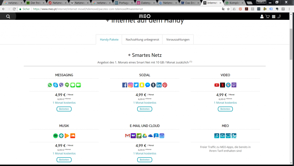 MEO Angebotsseite per Google Translate übersetzt