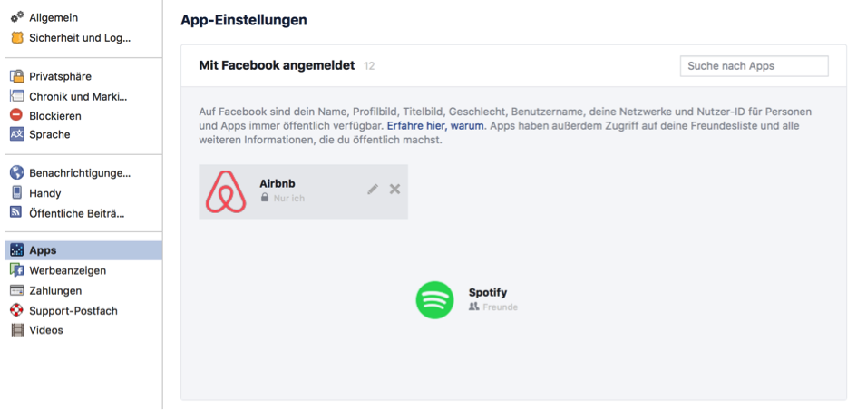 Facebook Anmeldungswarnung