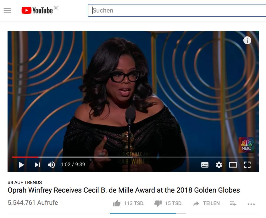 Oprah Winfrey: Ihre aufrüttelnde Golden Globes Dankes-Rede bei Youtube