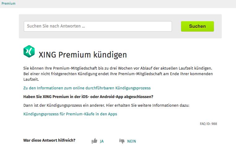 Anleitung: Xing Premium Mitgliedschaft kündigen