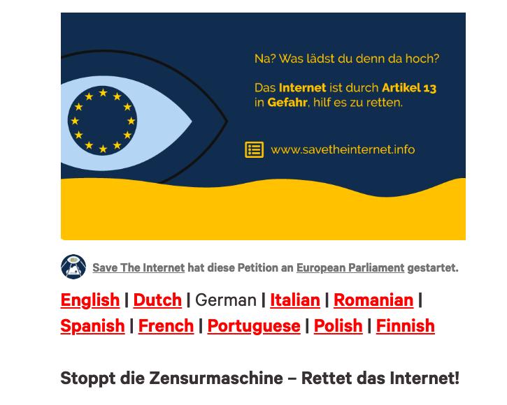 Jetzt unterschreiben: Petition gegen die EU-Urheberrechtsreform und Upload-Filter