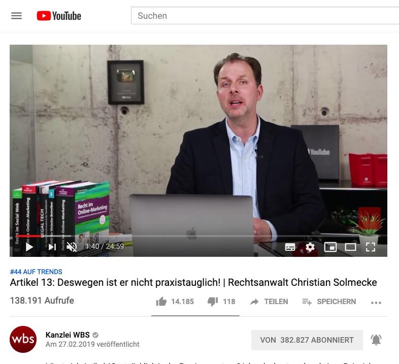 Artikel 13: RA Christian Solmecke erläutert die Konsequenzen anhand eines Beispiels im Video